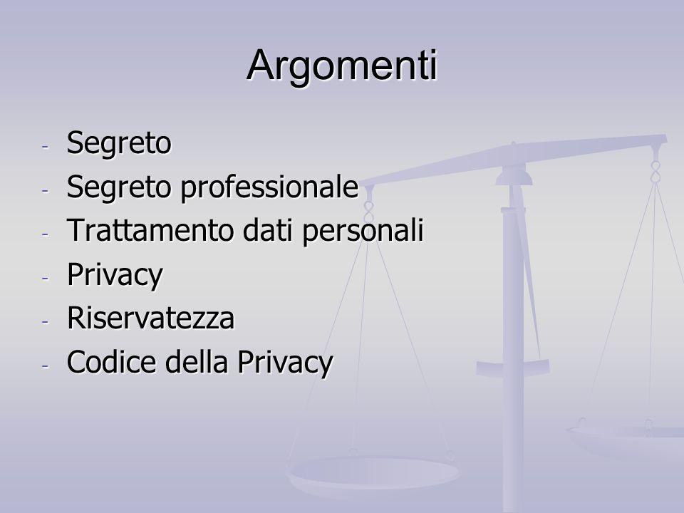 Argomenti Segreto Segreto professionale Trattamento dati personali