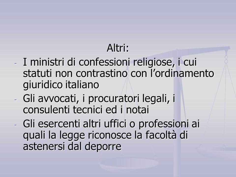 Altri:I ministri di confessioni religiose, i cui statuti non contrastino con l'ordinamento giuridico italiano.