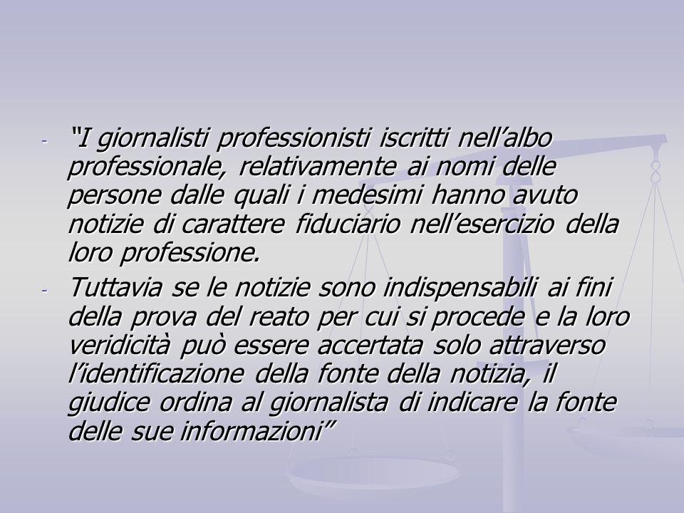 I giornalisti professionisti iscritti nell'albo professionale, relativamente ai nomi delle persone dalle quali i medesimi hanno avuto notizie di carattere fiduciario nell'esercizio della loro professione.