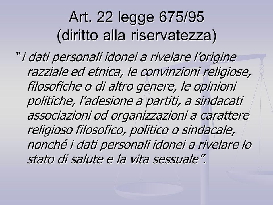 Art. 22 legge 675/95 (diritto alla riservatezza)
