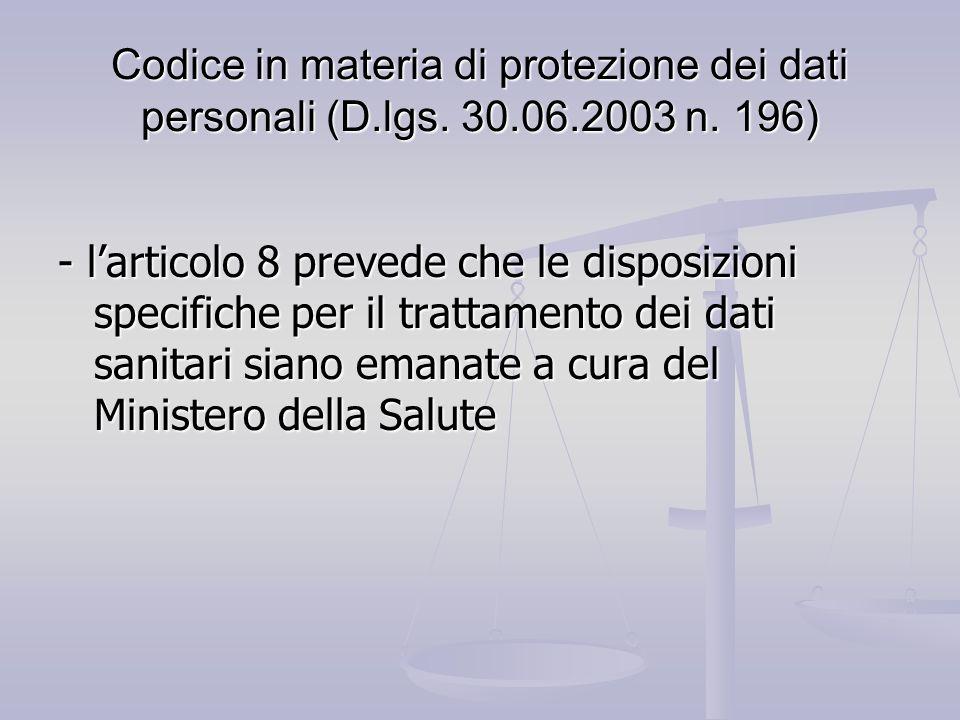 Codice in materia di protezione dei dati personali (D. lgs. 30. 06