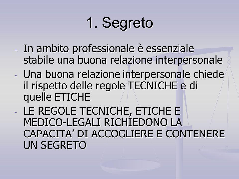1. SegretoIn ambito professionale è essenziale stabile una buona relazione interpersonale.