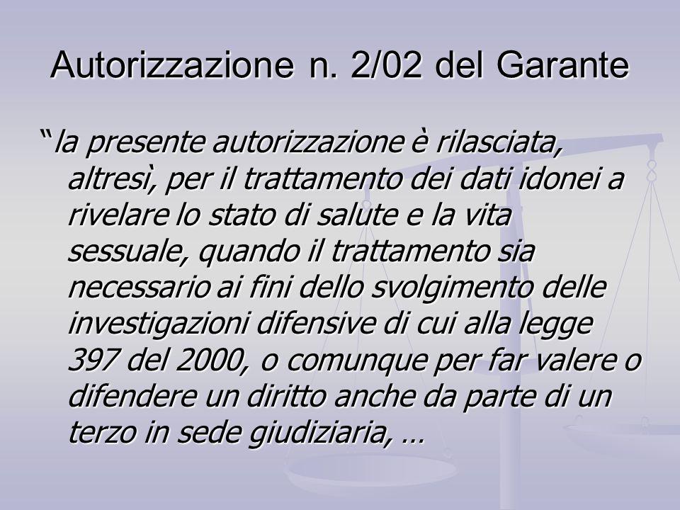 Autorizzazione n. 2/02 del Garante