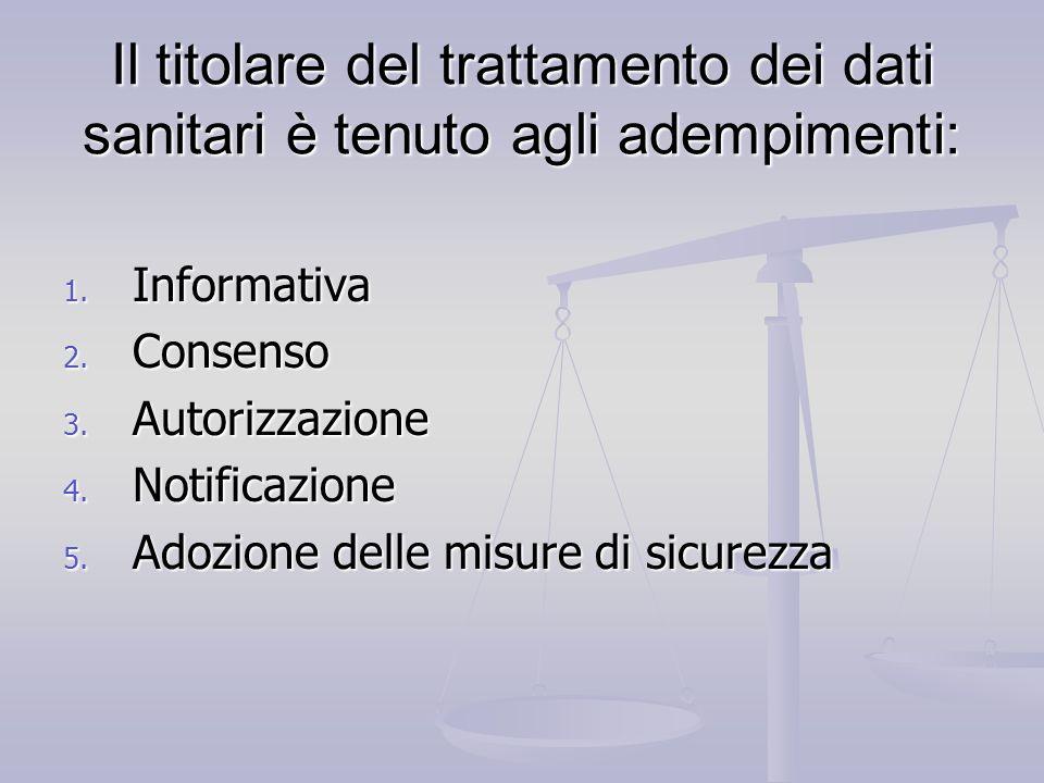Il titolare del trattamento dei dati sanitari è tenuto agli adempimenti: