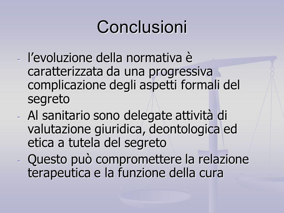 Conclusioni l'evoluzione della normativa è caratterizzata da una progressiva complicazione degli aspetti formali del segreto.