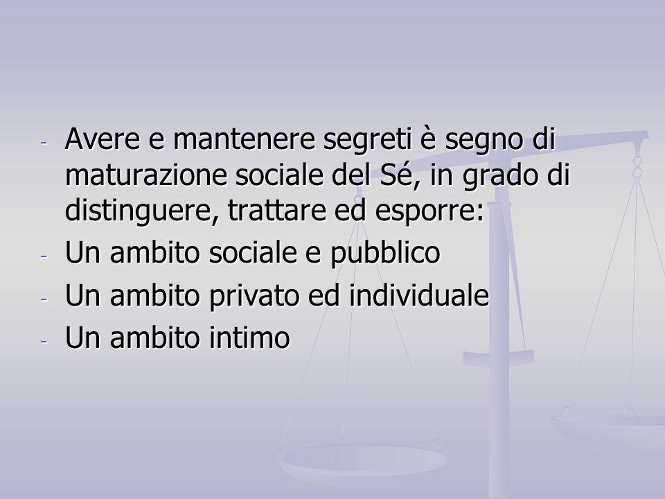 Avere e mantenere segreti è segno di maturazione sociale del Sé, in grado di distinguere, trattare ed esporre: