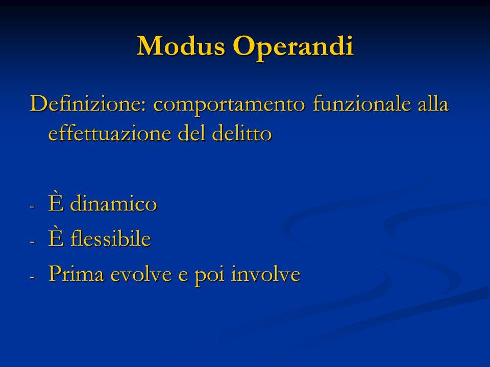Modus Operandi Definizione: comportamento funzionale alla effettuazione del delitto. È dinamico. È flessibile.