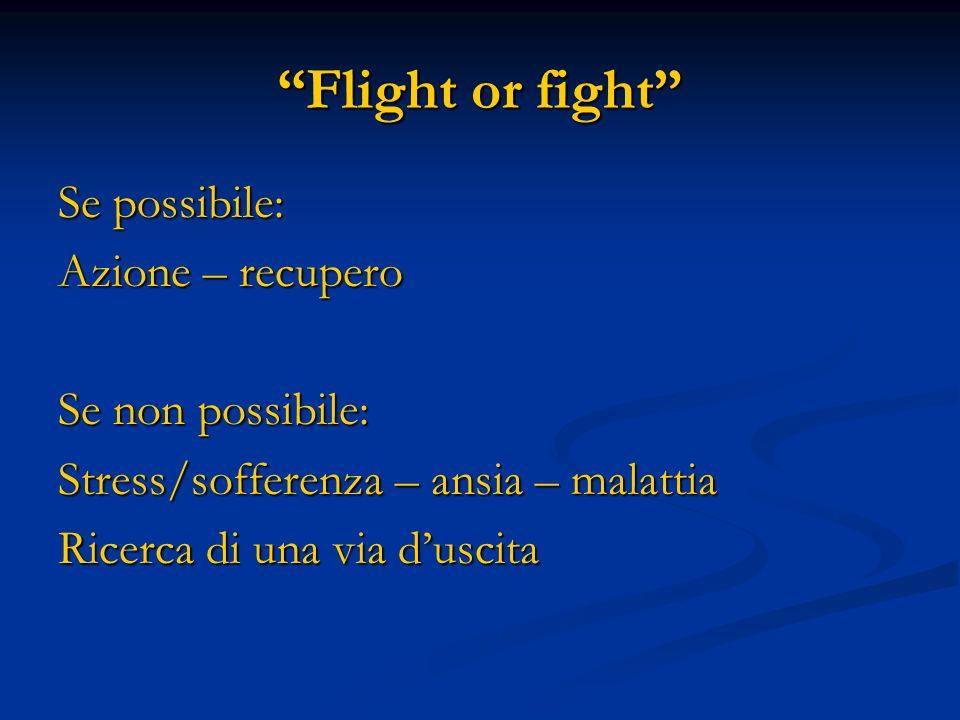 Flight or fight Se possibile: Azione – recupero Se non possibile: