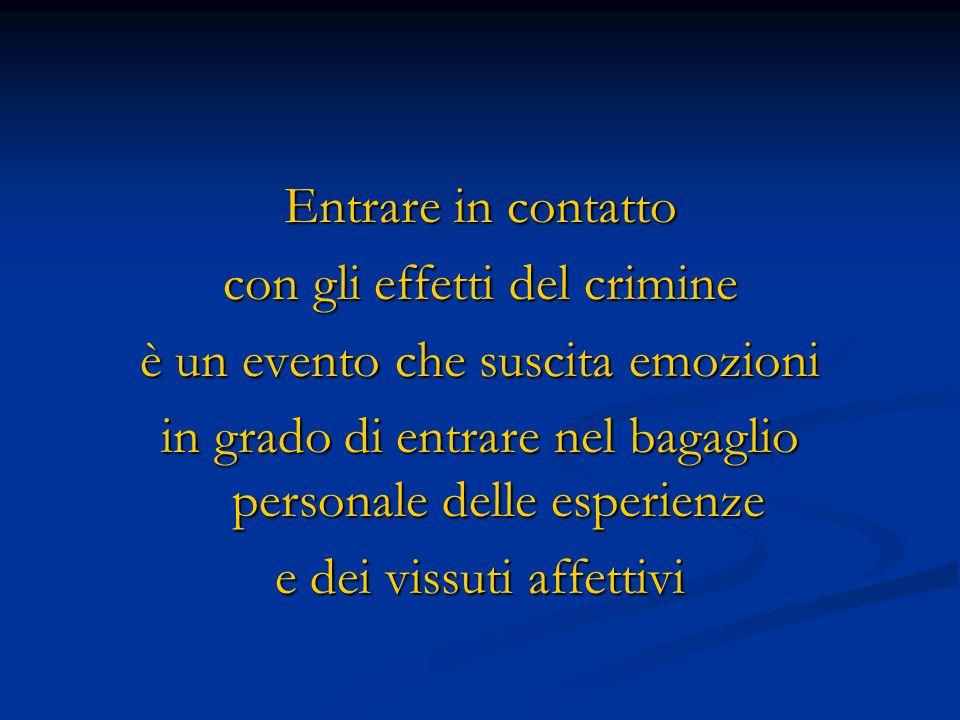 con gli effetti del crimine è un evento che suscita emozioni
