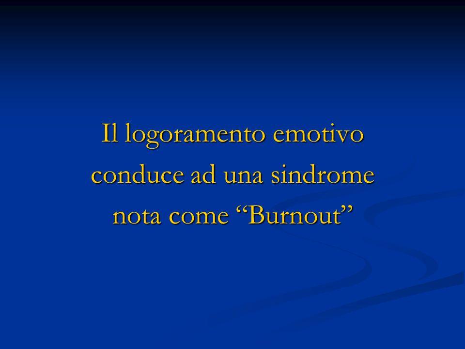 Il logoramento emotivo conduce ad una sindrome nota come Burnout
