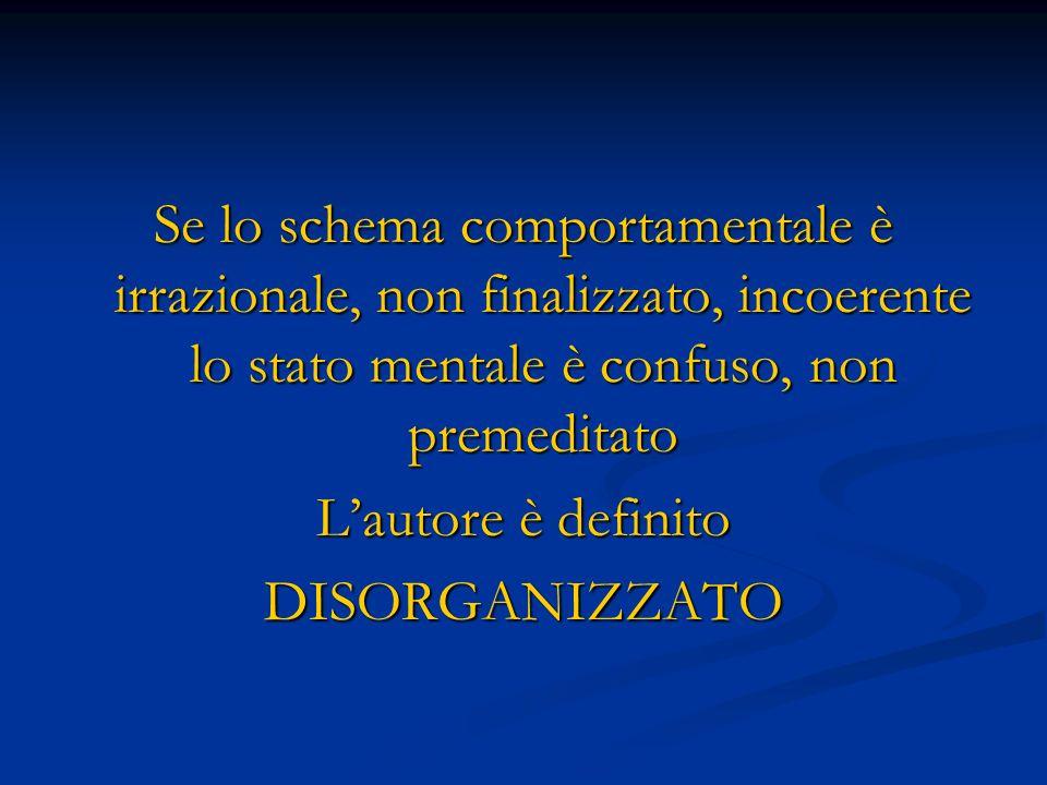Se lo schema comportamentale è irrazionale, non finalizzato, incoerente lo stato mentale è confuso, non premeditato