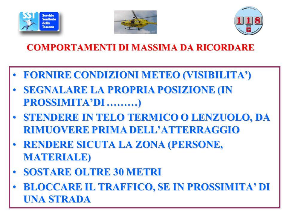 COMPORTAMENTI DI MASSIMA DA RICORDARE