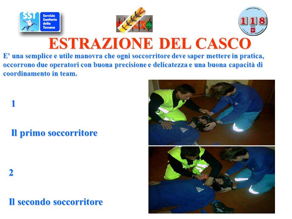 ESTRAZIONE DEL CASCO 1 Il primo soccorritore 2 Il secondo soccorritore