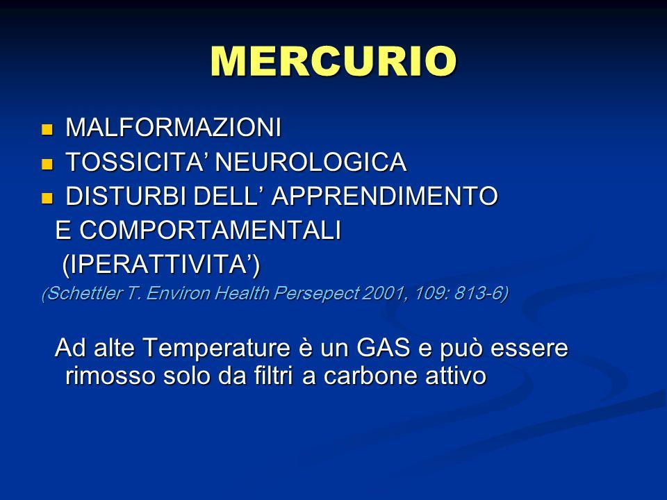 MERCURIO MALFORMAZIONI TOSSICITA' NEUROLOGICA