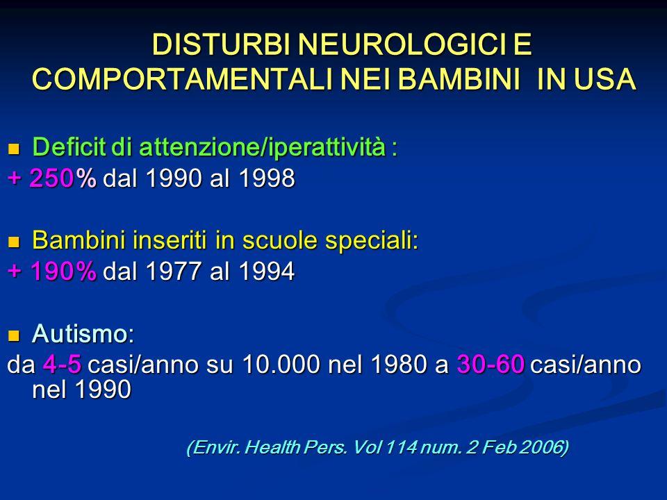 DISTURBI NEUROLOGICI E COMPORTAMENTALI NEI BAMBINI IN USA