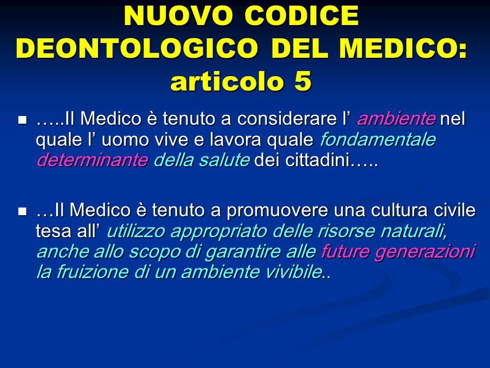 NUOVO CODICE DEONTOLOGICO DEL MEDICO: articolo 5