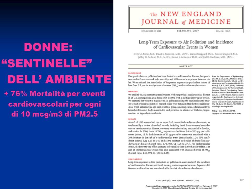 DONNE: SENTINELLE DELL' AMBIENTE + 76% Mortalità per eventi