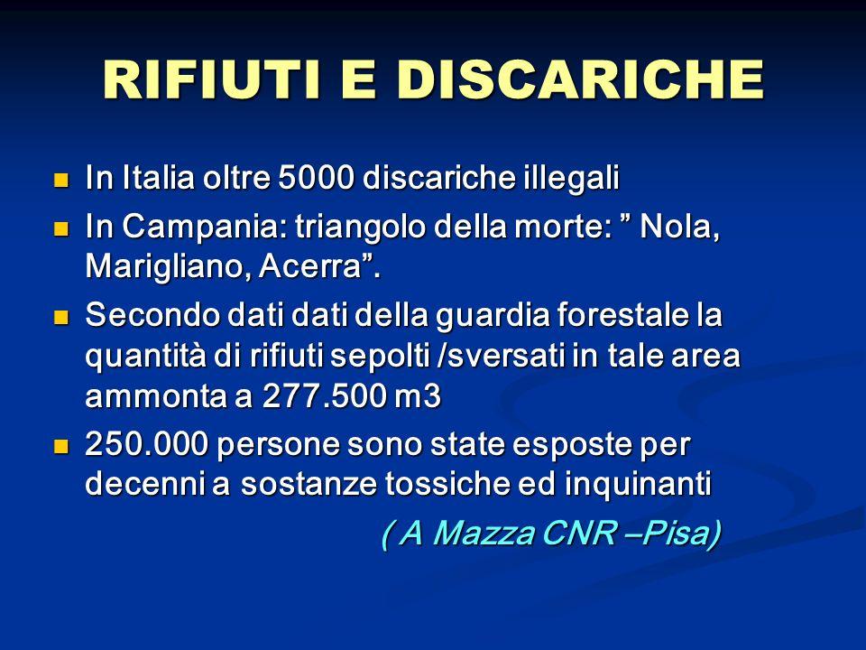 RIFIUTI E DISCARICHE In Italia oltre 5000 discariche illegali