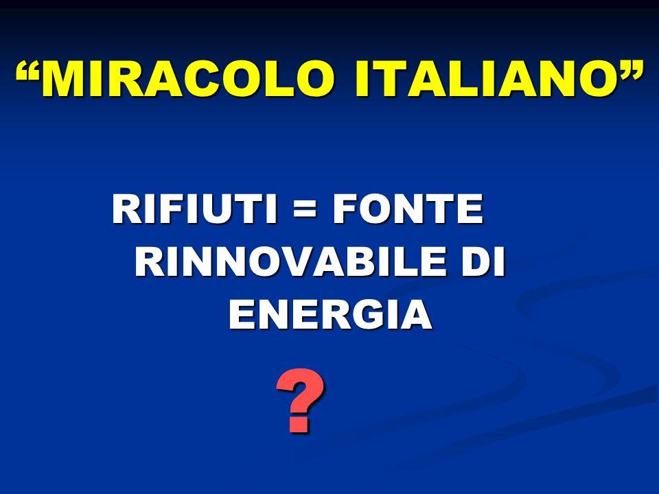 MIRACOLO ITALIANO RIFIUTI = FONTE RINNOVABILE DI ENERGIA