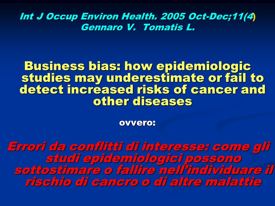 Int J Occup Environ Health. 2005 Oct-Dec;11(4)