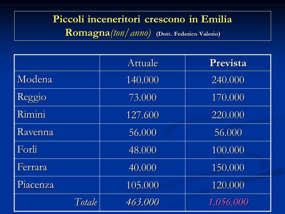 Piccoli inceneritori crescono in Emilia Romagna(ton/anno) (Dott