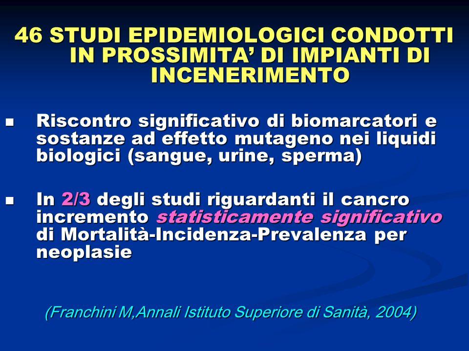 46 STUDI EPIDEMIOLOGICI CONDOTTI IN PROSSIMITA' DI IMPIANTI DI INCENERIMENTO