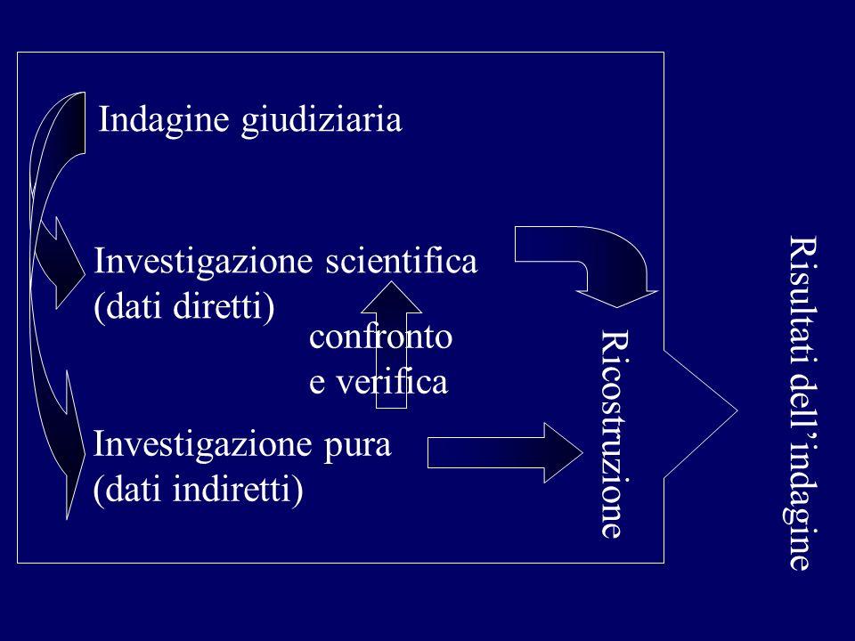Indagine giudiziaria Investigazione scientifica. (dati diretti) confronto. e verifica. Risultati dell'indagine.