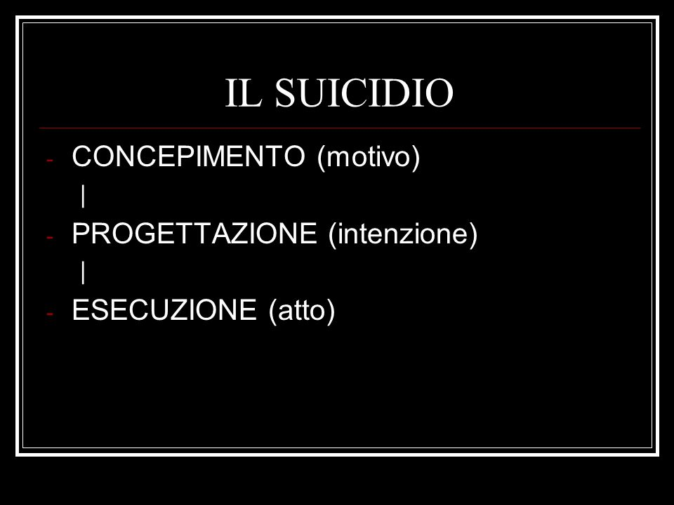 IL SUICIDIO CONCEPIMENTO (motivo) PROGETTAZIONE (intenzione)