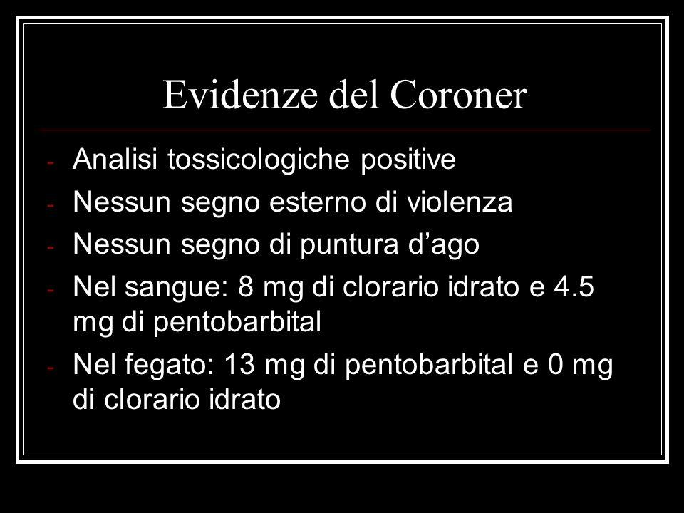 Evidenze del Coroner Analisi tossicologiche positive