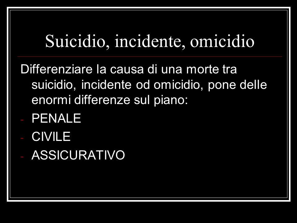 Suicidio, incidente, omicidio