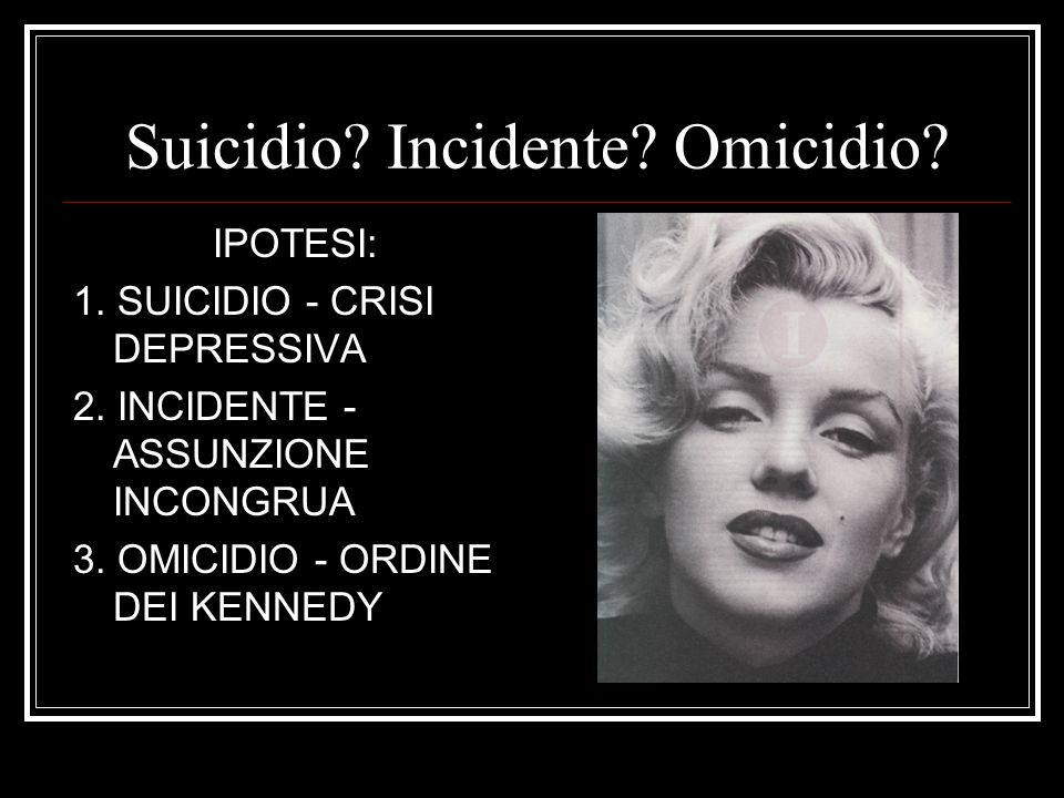 Suicidio Incidente Omicidio