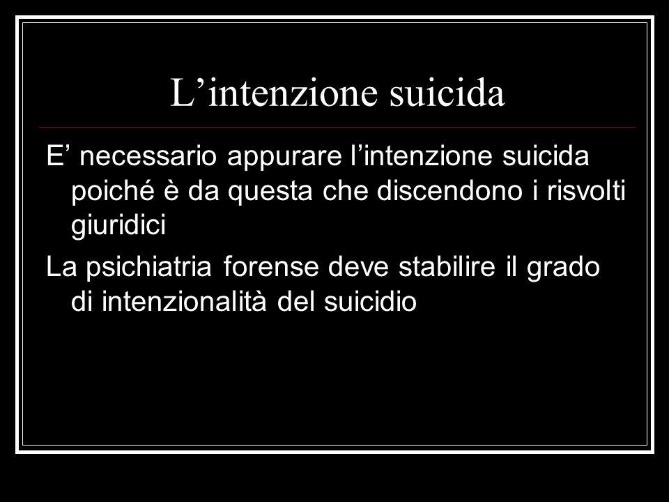 L'intenzione suicida E' necessario appurare l'intenzione suicida poiché è da questa che discendono i risvolti giuridici.