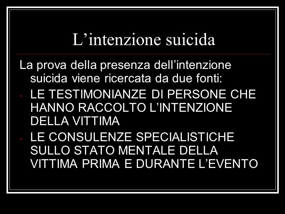 L'intenzione suicida La prova della presenza dell'intenzione suicida viene ricercata da due fonti: