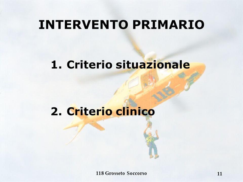 INTERVENTO PRIMARIO Criterio situazionale Criterio clinico