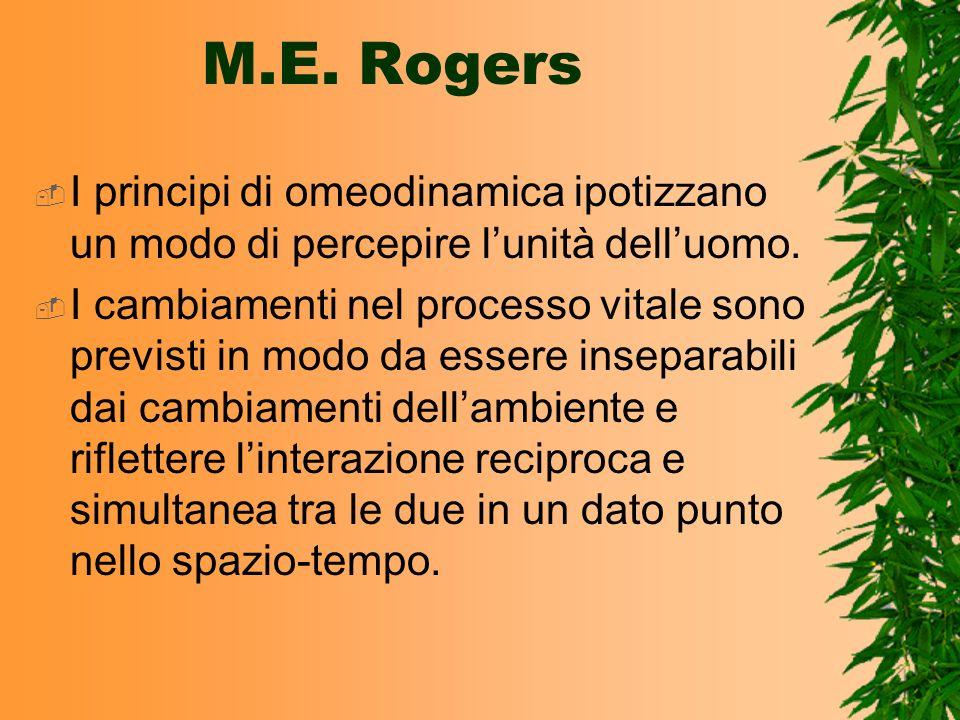 M.E. RogersI principi di omeodinamica ipotizzano un modo di percepire l'unità dell'uomo.
