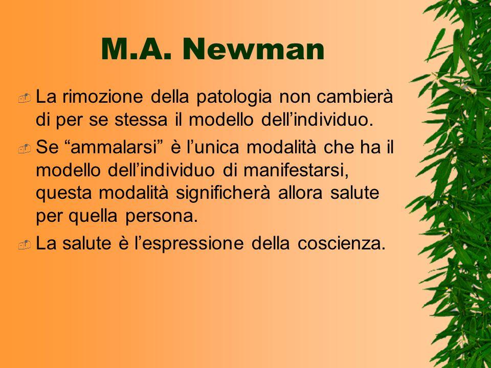 M.A. NewmanLa rimozione della patologia non cambierà di per se stessa il modello dell'individuo.