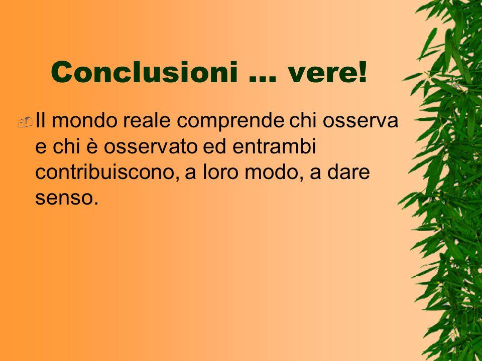 Conclusioni … vere!Il mondo reale comprende chi osserva e chi è osservato ed entrambi contribuiscono, a loro modo, a dare senso.