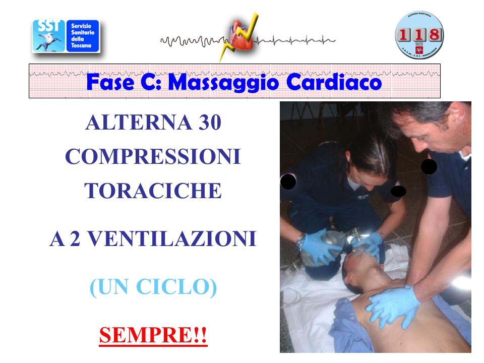 Fase C: Massaggio Cardiaco ALTERNA 30 COMPRESSIONI TORACICHE