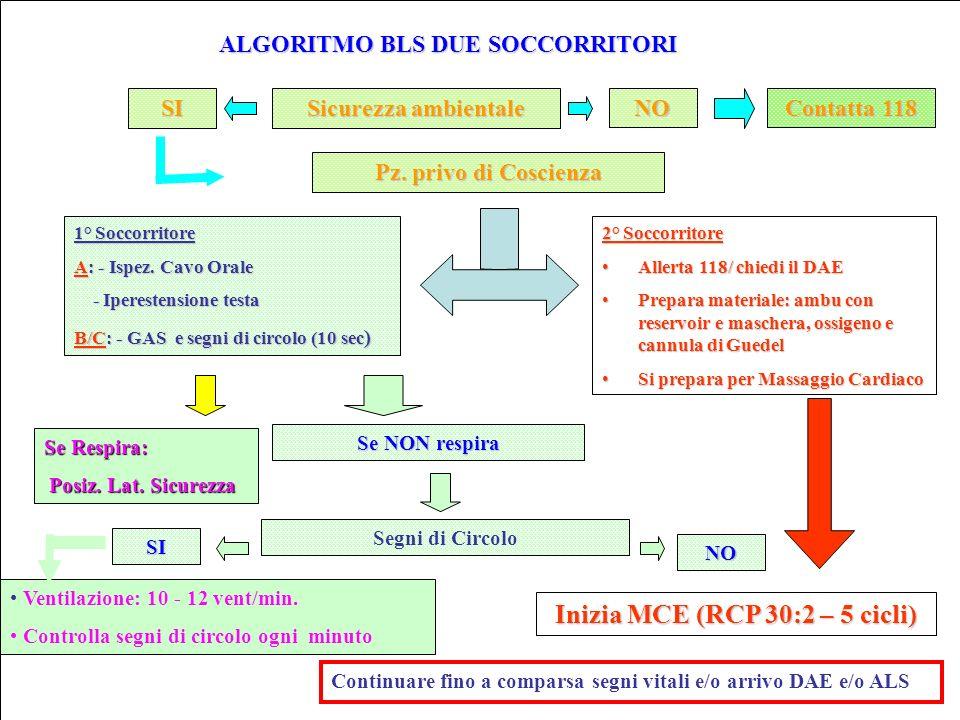 ALGORITMO BLS DUE SOCCORRITORI Inizia MCE (RCP 30:2 – 5 cicli)