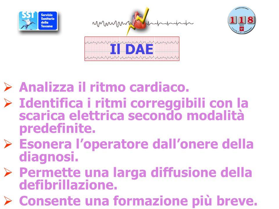 Il DAE Analizza il ritmo cardiaco.