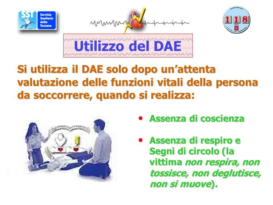 Utilizzo del DAE Si utilizza il DAE solo dopo un'attenta valutazione delle funzioni vitali della persona da soccorrere, quando si realizza: