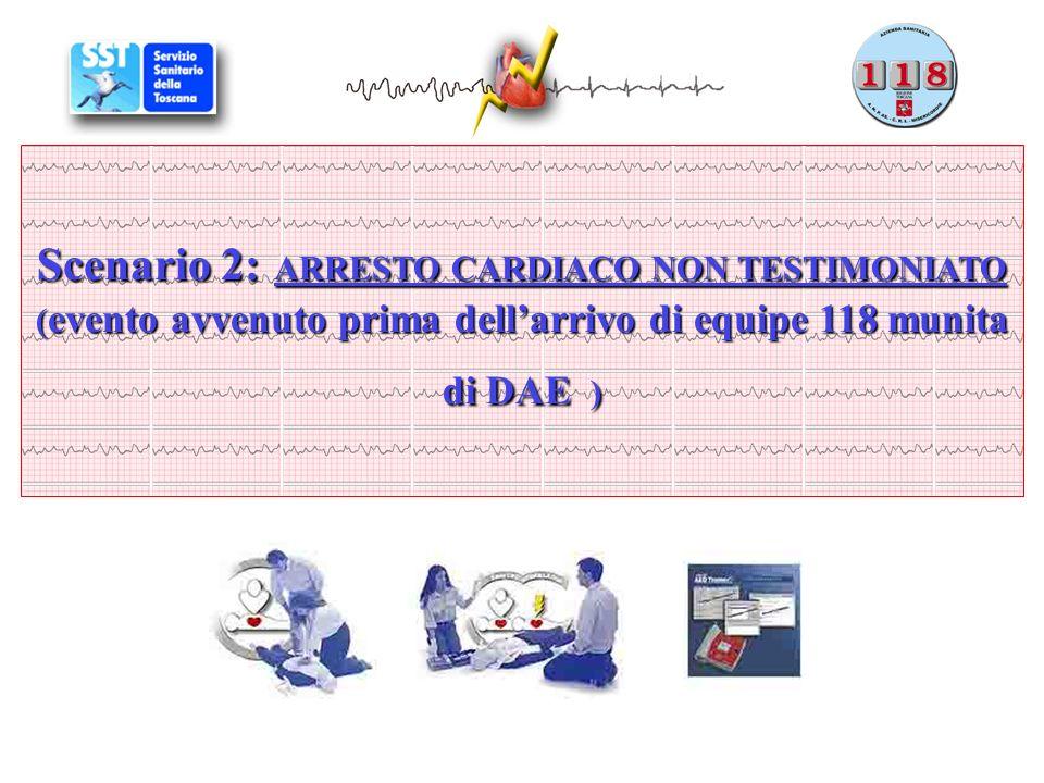Scenario 2: ARRESTO CARDIACO NON TESTIMONIATO (evento avvenuto prima dell'arrivo di equipe 118 munita di DAE )
