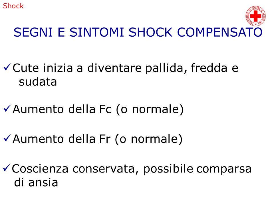 SEGNI E SINTOMI SHOCK COMPENSATO
