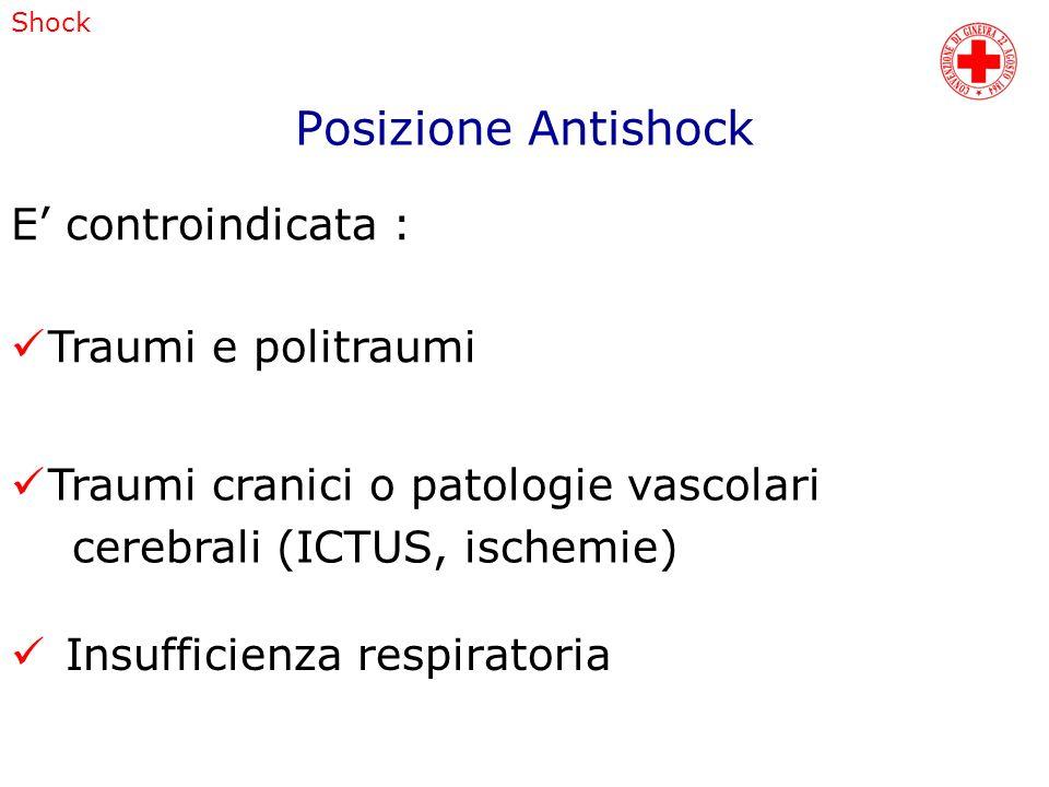 Posizione Antishock E' controindicata : Traumi e politraumi