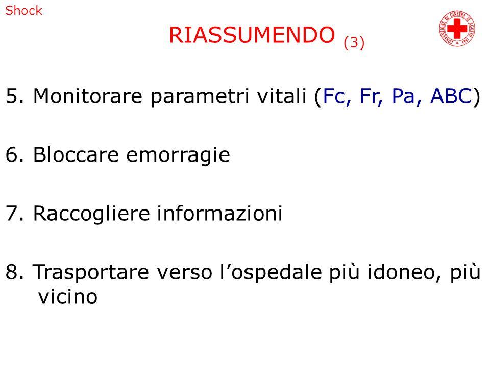 RIASSUMENDO (3) 5. Monitorare parametri vitali (Fc, Fr, Pa, ABC)