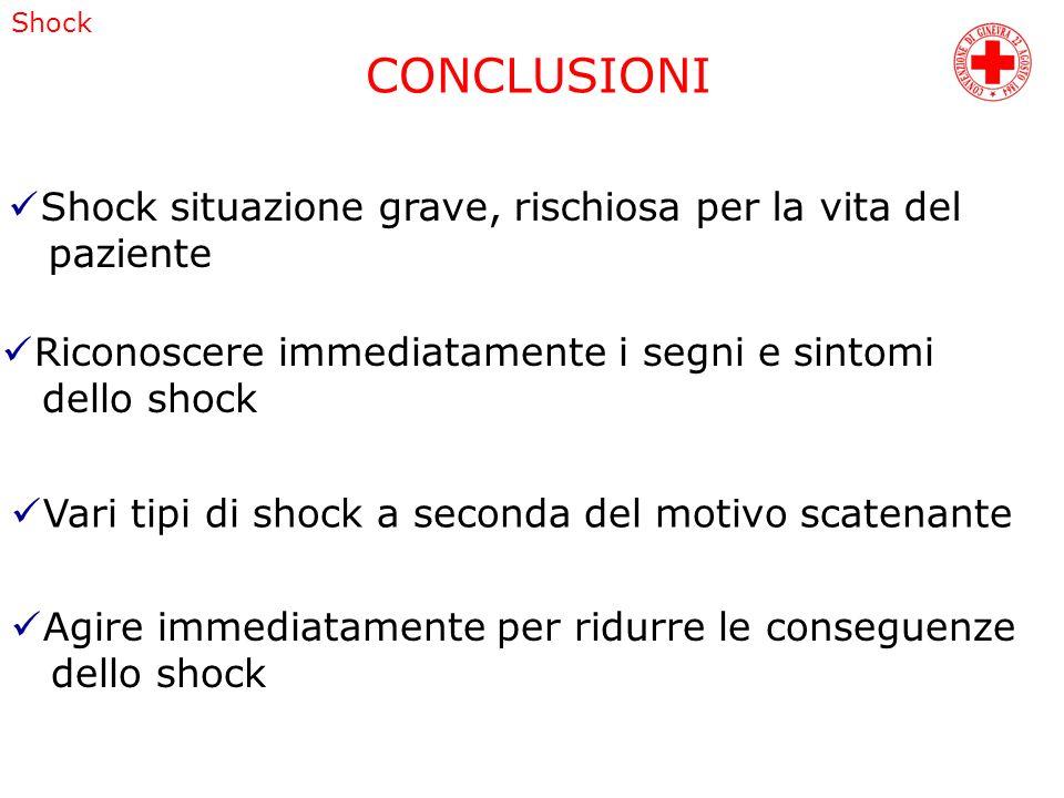 CONCLUSIONI Shock situazione grave, rischiosa per la vita del paziente