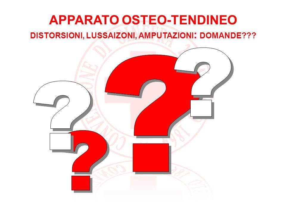 APPARATO OSTEO-TENDINEO DISTORSIONI, LUSSAIZONI, AMPUTAZIONI: DOMANDE