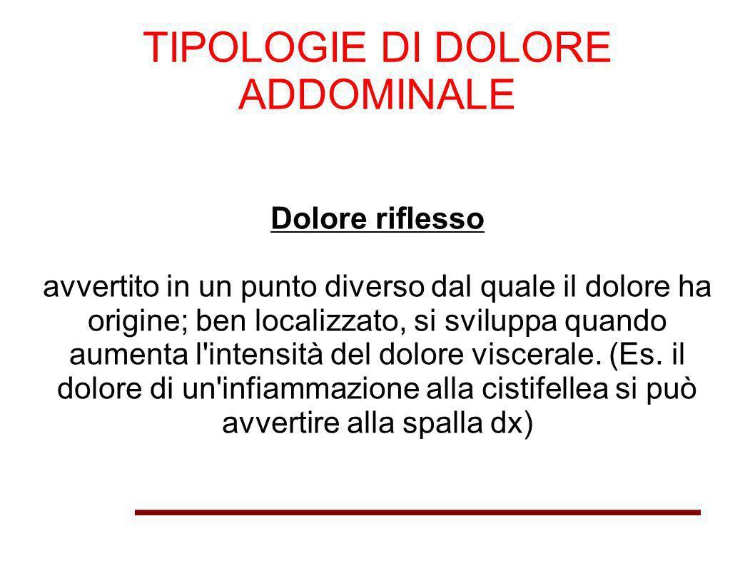 TIPOLOGIE DI DOLORE ADDOMINALE