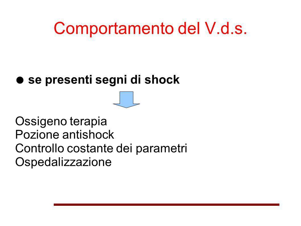 Comportamento del V.d.s. ● se presenti segni di shock Ossigeno terapia