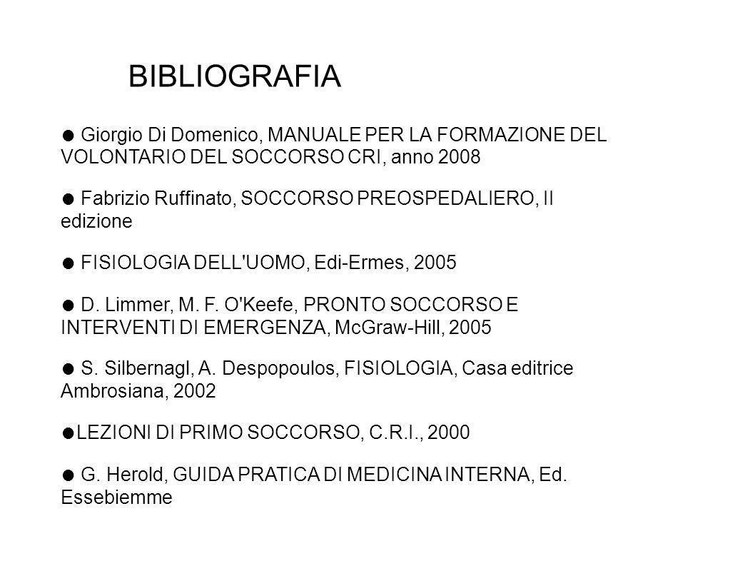 BIBLIOGRAFIA ● Giorgio Di Domenico, MANUALE PER LA FORMAZIONE DEL VOLONTARIO DEL SOCCORSO CRI, anno 2008.